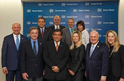 Group photo of GW leaders during the GW Cancer Center ribbon cutting event.