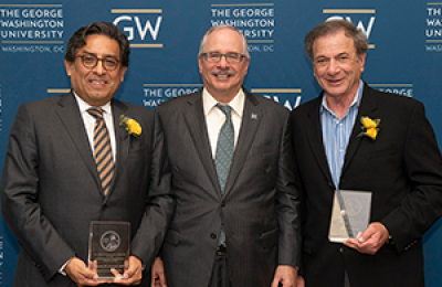 Eduardo Sotomayor, MD, GW President Thomas LeBlanc, and Jay Katzen, MD